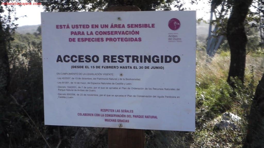 Señalización del Parque Natural Arribes del Duero