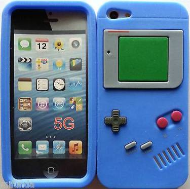 FUNDA CARCASA DE SILICONA RETRO GAMEBOY AZUL PARA IPHONE SE/5/5S SILICONE CASE