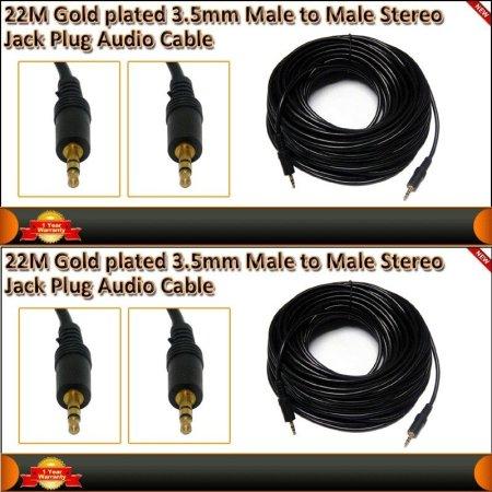 ⭐CABLE DE AUDIO AUXILIAR JACK 3.5 MM MACHO/MACHO CON 22 METROS DE LONGITUD