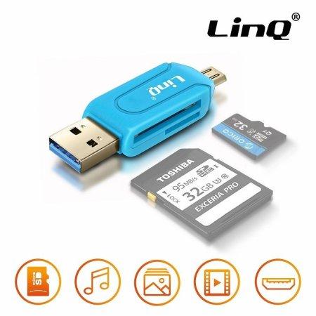 ⭐ADAPTADOR OTG USB Y MICRO USB CON LECTOR DE TARJETAS AZUL