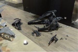 落下したアクロカントサウルスの頭部。