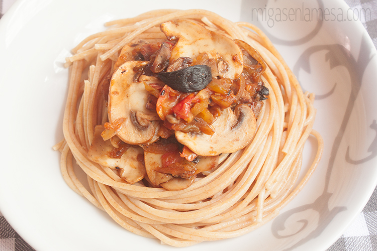 Spaghetti tomates asados 1