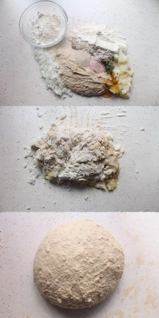 Pan integral patata cebolla y romero
