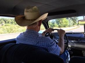 Greg driving the 1951 Mercury