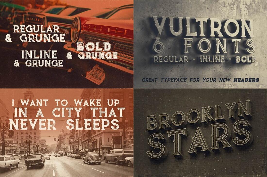 Download Mega Font Bundle of 32 Vintage, Grunge Font Families ...