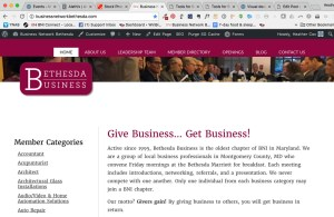 Bethesda Business web page