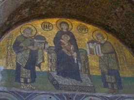 Mary presented with Istanbul (Constantine) and Hagia Sofia (Justinian)