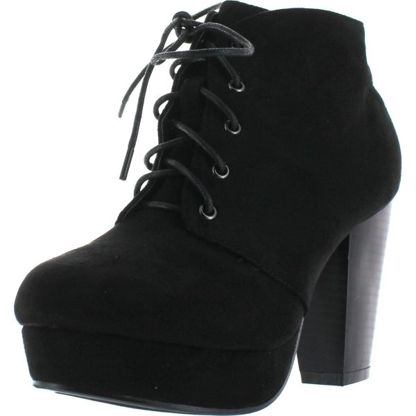 Forever Camille 86 Womens Comfort Stacked Chunky Heel Lace Up Ankle Booties