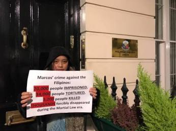 Filipinos and international supporters at the Philippine Embassy in the United Kingdom.