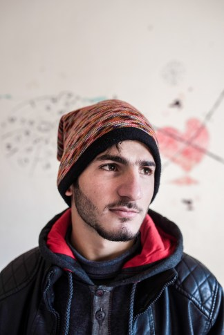 IRBID-JORDAN Home visit of ICMC staff. Masleh family, Syrian refugees. Portrait of Ahmed (17).