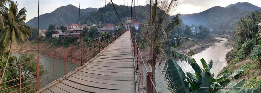 Le pont suspendu de Muang Khua, depuis peu réservé aux piétons.