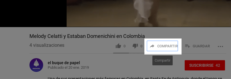 "Botón ""Compartir"" en Youtube"