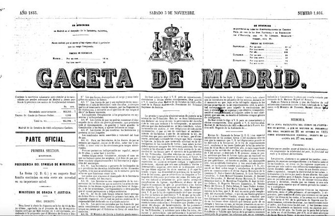 gaceta de madrid de 1855 sobre aquellos hombres buenos