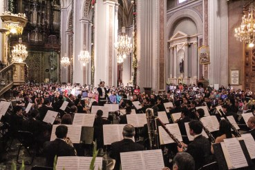 2012, Michoacan Symphony Orchestra. Beethovens 9th Symphony. Cathedral of Morelia, Mich., Mexico. Photo, Ramon Merino