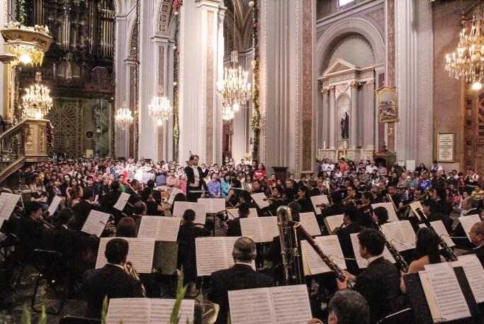 2012, Michoacan Symphony Orchestra. Beethovens 9th Symphony. Cathedral of Morelia, Mich., Mexico. Photo, Ramon Merino