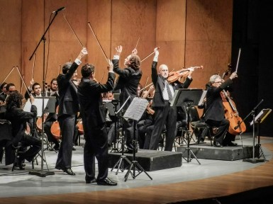 2014, with the Cuarteto Latinoamericano and Michoacan Symphony Orchestra. Piazzolas Four Seasons. Photo, Ramon Merino