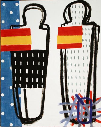 ¿De qué guerra viven los artistas__öleosobre lienzo 81x65 cm_2004