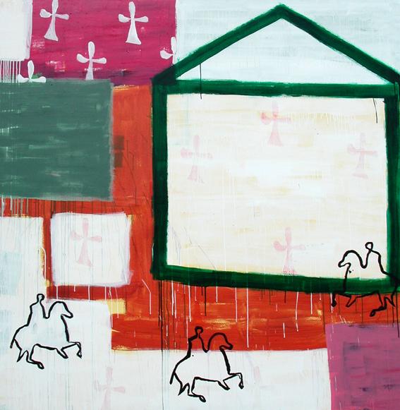 Casa Mundo I_ Acrílico sobre lienzo. 200x200 cm. 2001