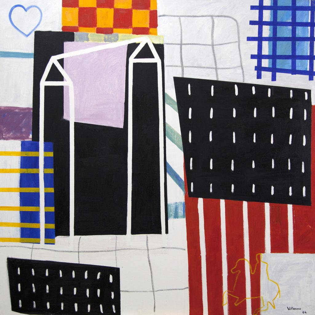 """Miguel Villarino """"Donde habitan los hombres que no miran atrás"""" (2004) acrílico / tela 180 x 180 cm."""