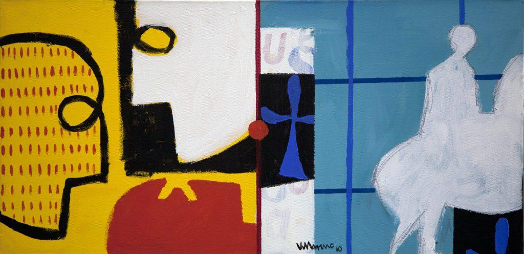 """Miguel Villarino """"Dominó I"""" (2010) acrílico / tela 35 x 70 cm"""