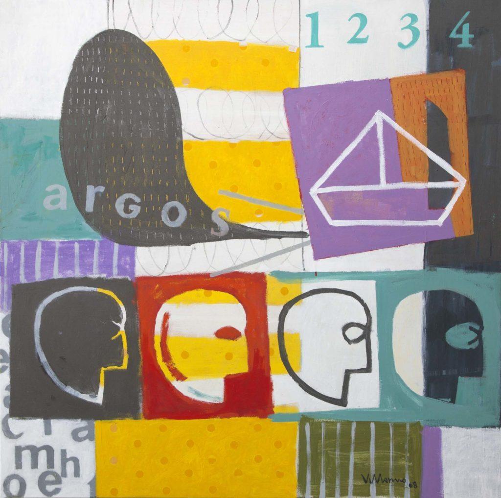 """Aire de vidrio Miguel Villarino """"Argos"""" (2008) acrílico / tela 120 x 120 cm."""