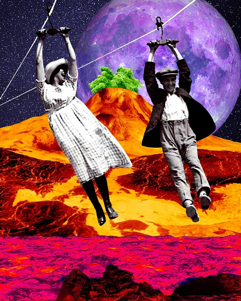 Jump in the fire. Digital Collage