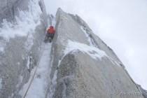 Leading on very beautiful ice chimney