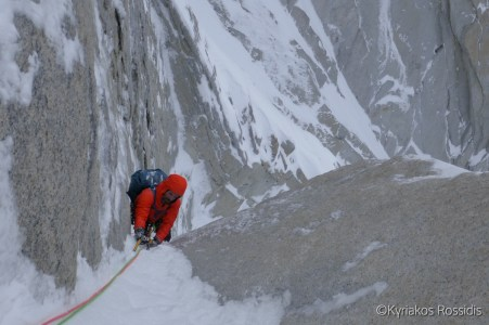 First corner pitch on Richardson - Simms route on Aguja Guillaumet