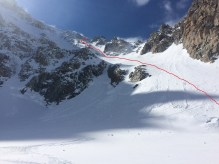 Our descent line on Barbey Couloir