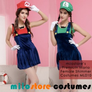 Ladies Premium Mario & Luigi Shimmer Costumes ML010