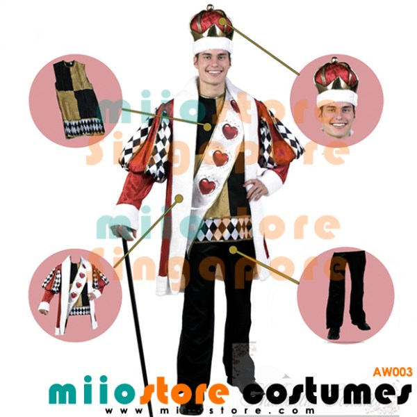AW003 - King of Hearts - Alice in Wonderland Costumes Singapore - miiostore Costumes Singapore