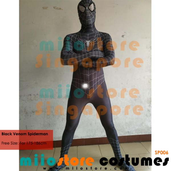Black Venom Spiderman Costumes - Peter Parker - miiostore Costumes Singapore - SP006