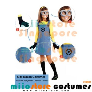 Kids Minion Costumes Girls Dress - miiostore Costumes Singapore - MN002
