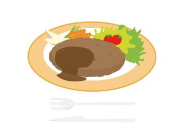 バーグディッシュのディッシュの語源は、英語の【dish:料理】