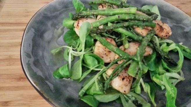 coquilles | zeekraal | groene asperges | veldsla