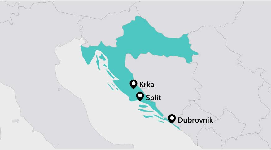 Map Reisroute door Kroatië