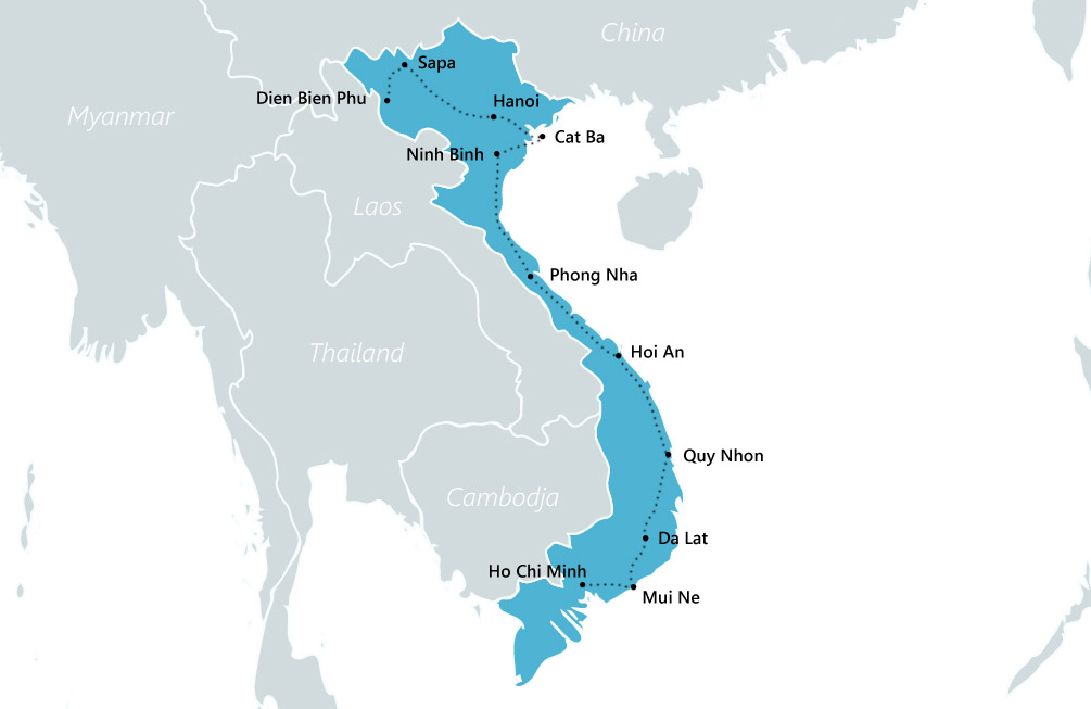 reisroute vietnam backpack route