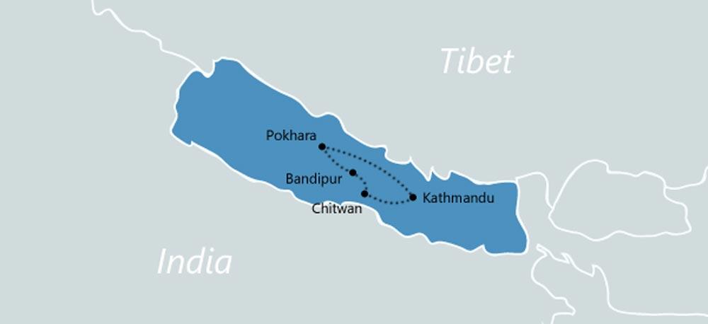 Reisroute-Nepal