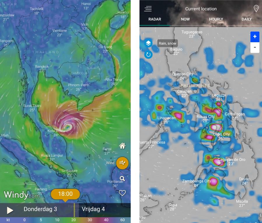 Screenshot Windy en Weather Radar app