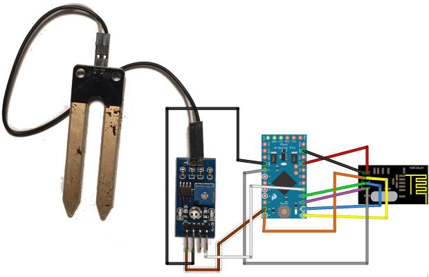Inkoppling av fuktsensor och radiomodul till Arduino