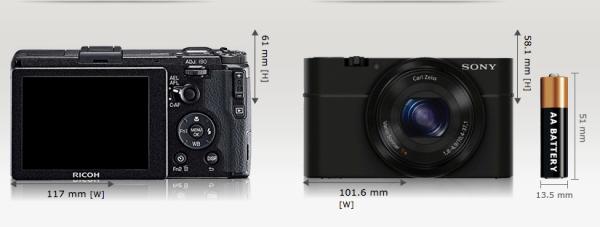 Ricoh GR vs Sony RX100 (Bilde: camerasize.com)