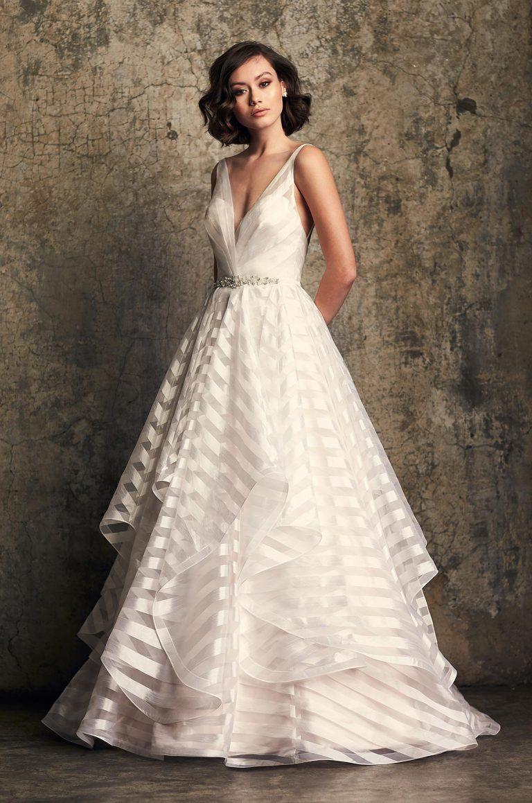 Whimsical Striped Organza Wedding Dress Style 2315 Mikaella Bridal
