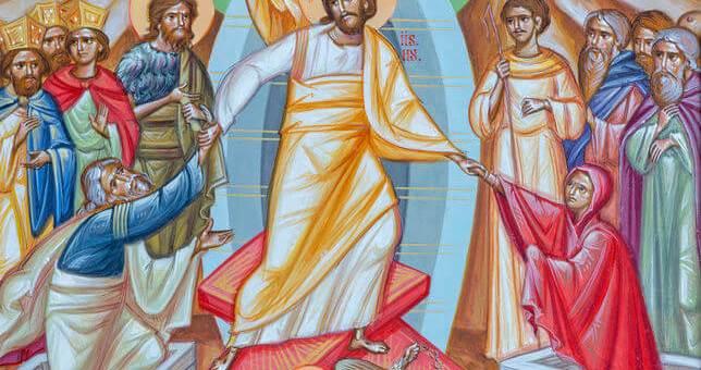 """REGGIO EMILIA, ITALY - APRIL 12, 2018: The icon of """"Harrrownig of Hell - Descensus Christi and inferno (latin)"""" on the iconostas in church Chiesa di San Giorgio in Reggio Emilia from 20 cent."""