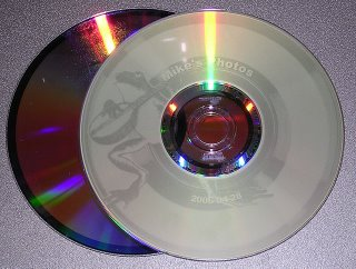 Here is the first Lightscribe labeled disc I burned. It is a backup of my photos in Picassa