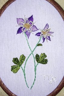 Brazilian Dimensional Embroidery Columbine Flower