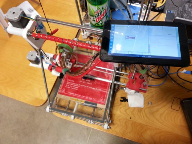 Water Cooled Maker Gear Prusa Mendal RepRap with a tablet using GCodePrintr