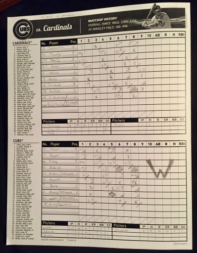 My scorecard from the final Cubs home game of the regular season.