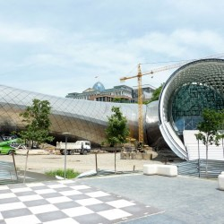Construction of a new theatre. Polls show only 20% of Tbilisi approves it's unique architecture