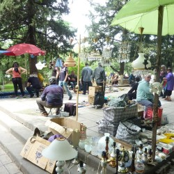 Flea market is the place to find everything from drinking horns to Soviet memorabilia