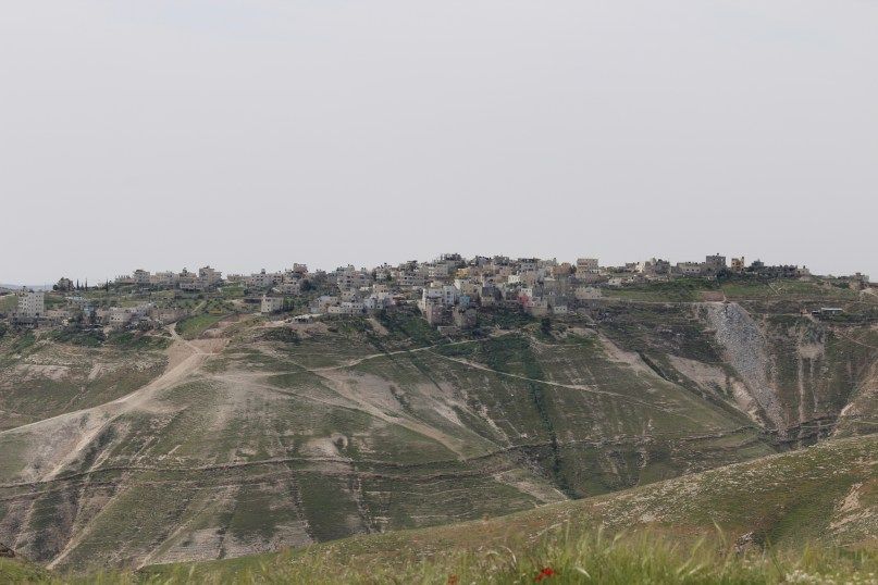 On the other side of the Kidron channel is the Palestinian town of Ubeidiya